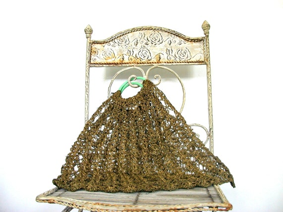 Vintage Metal Handbag - 60s bag - crochet bag - br