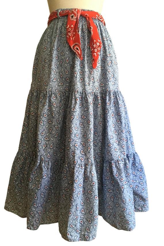 Vintage Prairie Skirt - cottage core - paisley - … - image 3