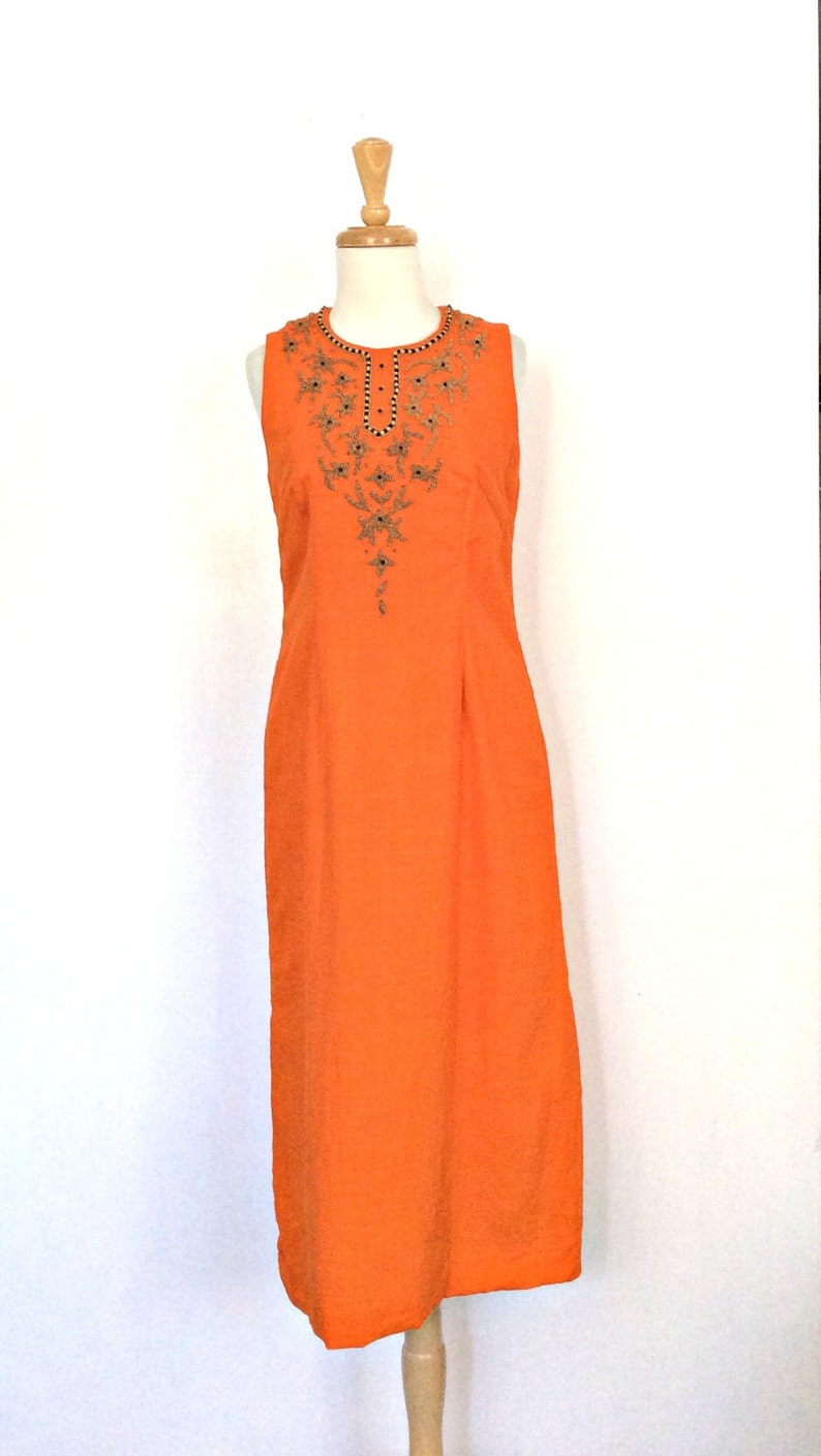 8f74e3c2649 Vintage Beaded Dress indie 60s dress cotton sundress