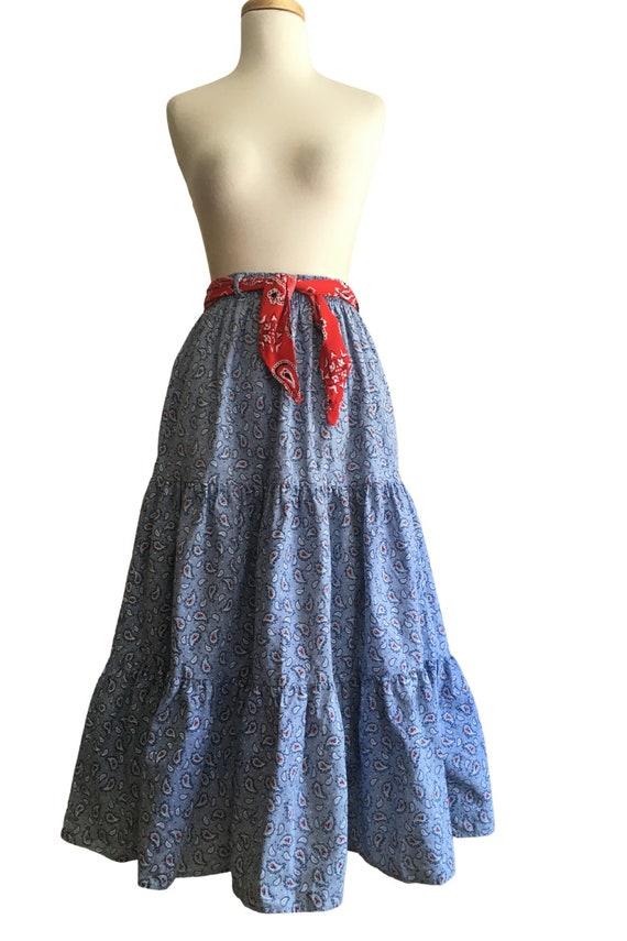 Vintage Prairie Skirt - cottage core - paisley - … - image 7