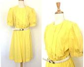 Vintage 1980s Yellow Dres...
