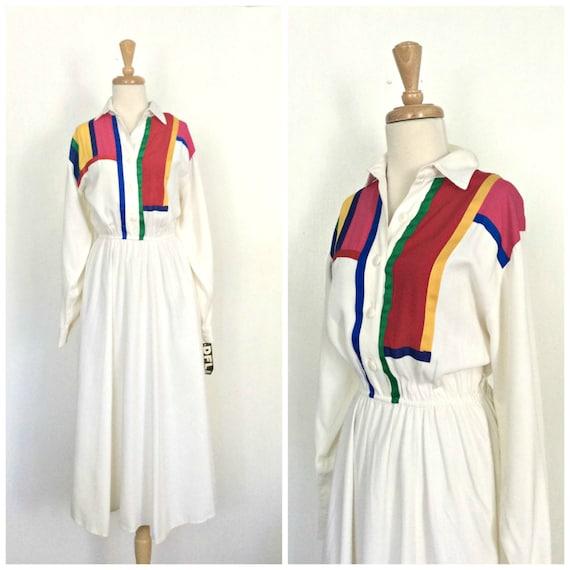 Vintage 80s Dress - color block - Mondrian style -