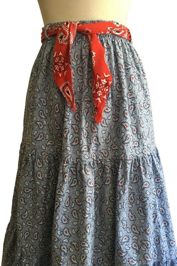 Vintage Prairie Skirt - cottage core - paisley - … - image 4