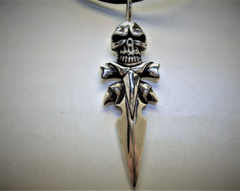 Sterling Silver Skull with Dagger Pendant