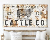 Modern Farmhouse Wall Decor Cattle Company Last Name Established Family Sign Rustic Cow Decor Large Living Room Wall Art Custom Personalized