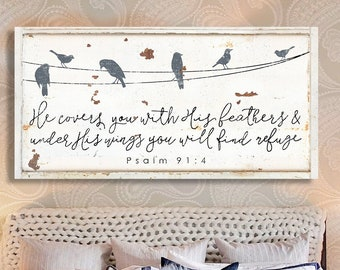 He covers you with his feathers Modern Farmhouse Decor Canvas Print Psalm 91:4 Christian wall art Rustic Farmhouse Distressed Scripture