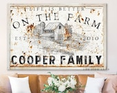 Custom Family Name Sign Modern Farmhouse Decor Life is Better on the Farm Large Rustic Wall Art Last Name Established Family Homestead Cow