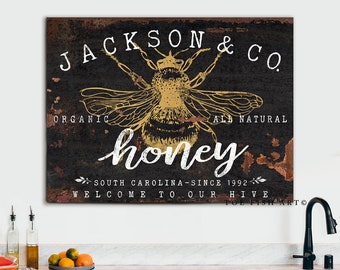 Vintage Retro Metal Sign Wall Plaque Bee Keeping Honey Hive Kitchen Gift