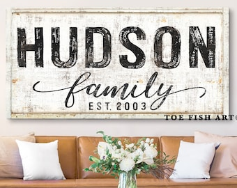 Family Name Sign Modern Farmhouse Last Name Established Signs Home Decor Personalized Last Name Sign Vintage Name Sign Rustic Canvas Print