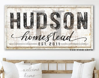 Family Name Sign Modern Farmhouse Last Name Date Home Wall Decor Personalized Name Sign Vintage Name Sign Rustic Canvas Print Wall Homestead