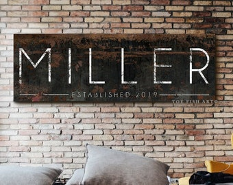 Family Name Sign Last Name Established Signs Gift for Her Modern Farmhouse Personalized Last Name Sign Modern Name Sign Rustic Canvas Print