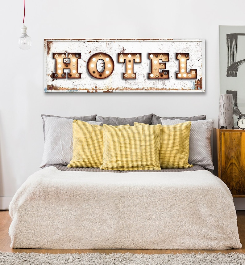 Delicieux Hotel Sign Vintage Farmhouse Wall Decor Bedroom Wall Art Rustic Industrial  Rustic Farmhouse Welcome Guest Room Large Canvas Sign Metal Motel