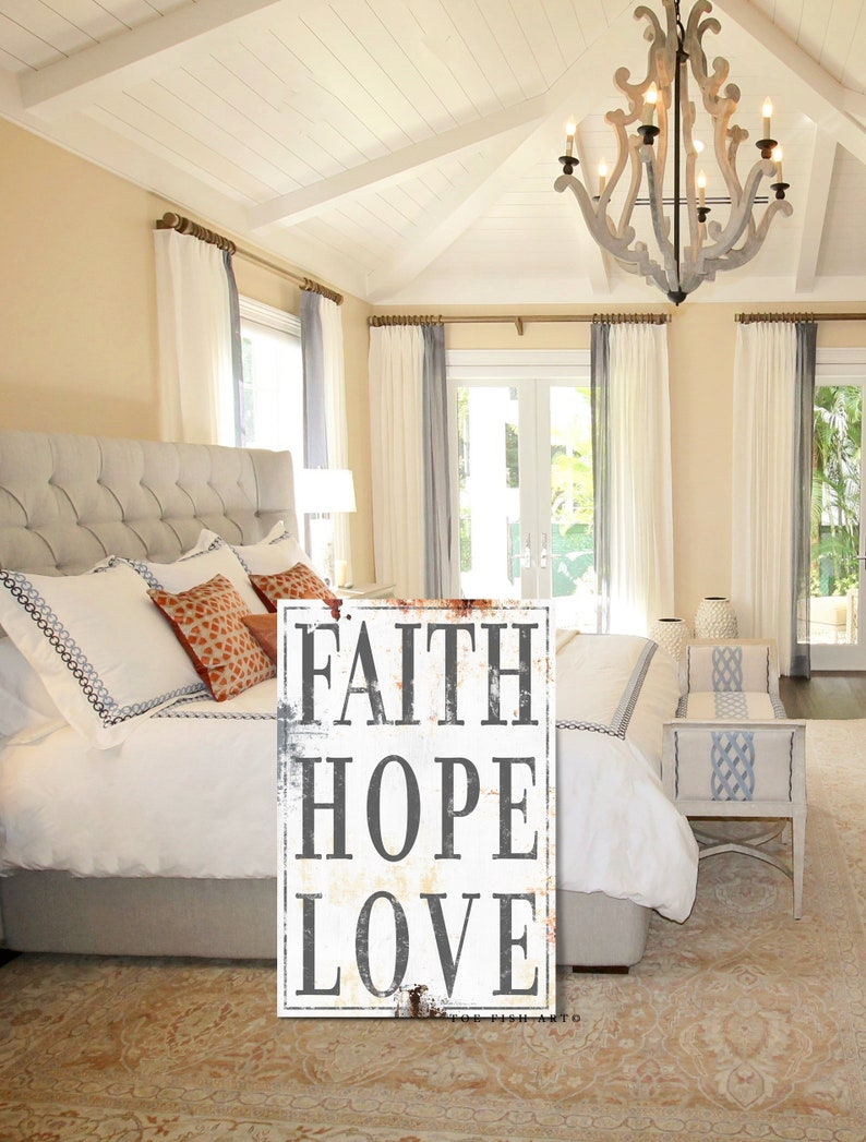 1 Corinthians 13 Bedroom Wall Decor Faith Hope Love Above Bed Decor Bedroom Wall Sign Wedding Rustic Sign Custom Sign Farmhouse Style Art