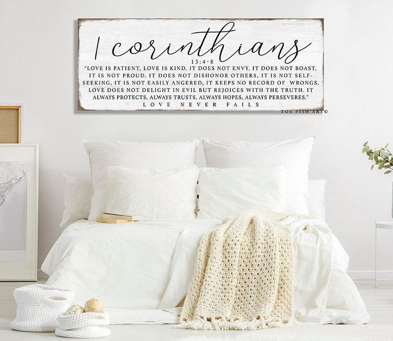 1 Corinthiens 13 bois signe chambre mur Decor lamour est que | Etsy