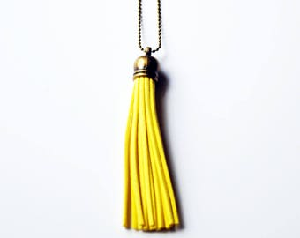 Essential Oil Diffuser Tassel Necklace | Sunshine Yellow Necklace | Vegan Suede Jewelry | Aromatherapy Necklace | Long Tassel Necklace