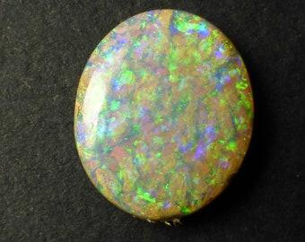 Video ! Australian Boulder Opal 26 x 11 x 5mm Untreated Opal Freeform Opal Wood Fossil Gemstone Supplies CODE YU364