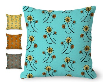 Mid century modern throw pillow cover, turquoise pillow, turquoise blue, dandelions floral print, mcm, with hidden zipper, yellow, orange