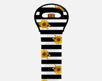 Floral wine tote bag, wine bag, black stripes, yellow sunflower insulated wine carrier, wine bottle carrier, wine gift bag, wine bottle tote