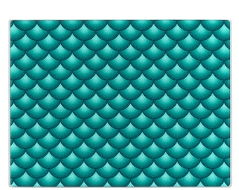 Turquoise Glass cutting board, fish scales cuttingboard, tempered glass, small and large sizes, Mother's Day gift, housewarming gift