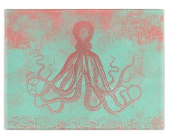 Nautical glass cutting board, octopus cuttingboard, coral and mint, tempered glass, small and large sizes, couples gift, wedding gift