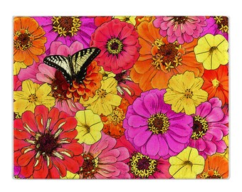 Floral glass cutting board, butterfly cuttingboard, pink, orange, yellow ,tempered glass, small and large sizes, Mother's Day gift