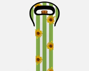 Floral wine tote bag, green wine bag, insulated wine carrier, wine bottle carrier, wine gift bag, wine bottle tote, striped, sunflowers