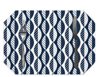 Mod leaves placemat, navy blue and white placemats, modern Scandinavian style, washable polyester placemats, fabric placemat, table linens