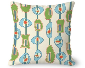 Throw Pillow Cover, mid century modern, MCM, lime green, blue, cream, square or lumbar pillow with zipper