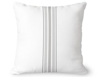 Farmhouse pillow covers, gray stripes on white, covers only, lumbar pillow covers