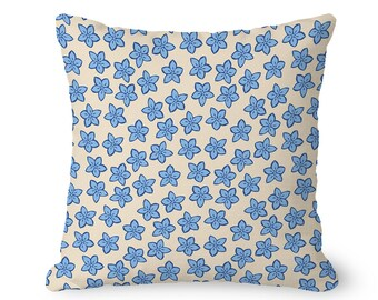 Blue floral pillow cover, blue flowers on cream, farmhouse pillow cover, throw pillow cover