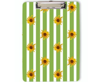 Sunflowers Clipboard, floral clipboard, green stripes, flat clip, clip board, office accessory, teacher gift, office gift, grad gift