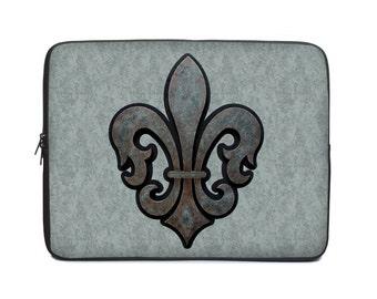 Fleur de lis Laptop Cover, gray laptop case, laptop sleeve, to fit 10, 13, 15, 17 inch, computer sleeve, netbook case, tablet case