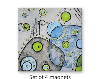 Abstract art magnets, mid century modern, refrigerator magnets, fridge magnet set, set of 4 decorative magnets, kitchen decor