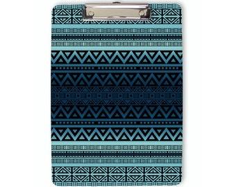 Blue Tribal Clipboard, ombre clipboard, boho clipboard, flat clip clipboard, clip board, office accessory, office supplies, school supplies