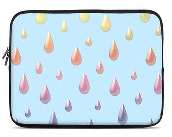 Raindrops Laptop Sleeve, rainbow laptop case, laptop cover, to fit  10, 13, 15, 17 inch, computer sleeve, netbook case, coworker gift