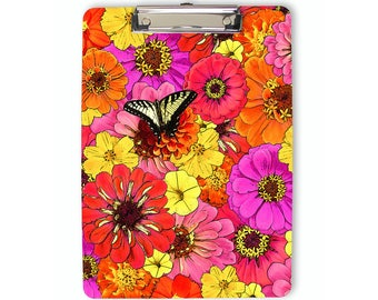 Floral Clipboard, butterfly clipboard, flat clip clipboard, colorful, orange, clip board, office accessory, office supplies, office gift
