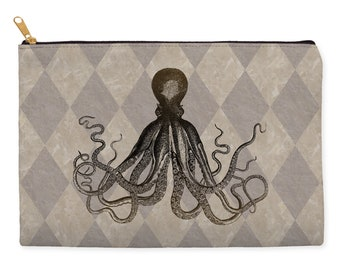 Octopus makeup bag, kraken pencil case, make up bag, cosmetic bag, large pencil case, zippered pouch, pencil pouch, pencil bag