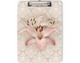 Floral Clipboard, damask clipboard, rose quartz pink, lilies, flower clipboard, flat clip clipboard, clip board, office accessory