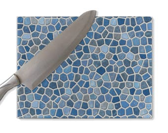 Blue glass cutting board, faux mosaic cuttingboard, decorative, tempered glass, small and large sizes, couples gift, wedding gift