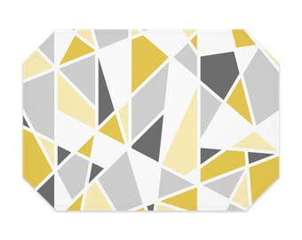 Yellow geometric placemat, printed cloth placemat, mustard yellow, gray, fabric placemat, table linens, table setting, modern decor