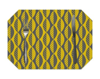 Mod leaves placemat, mustard yellow and charcoal gray, modern washable polyester placemats, fabric placemat, table linens