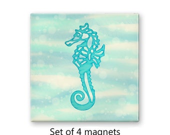 Seahorse magnet set, nautical fridge magnets, refrigerator magnets, set of 4 decorative magnets, kitchen decor, art magnets, aqua