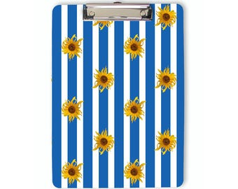 Sunflowers Clipboard, floral clipboard, blue stripes, flat clip, clip board, office accessory, teacher gift, office gift, grad gift