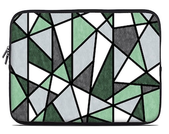 Geometric laptop sleeve, green, mint, gray, black laptop cover, laptop case, to fit 10, 13, 15, 17 inch
