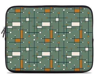 Geometric laptop sleeve, army green and orange laptop case, laptop cover, to fit 10, 13, 15, 17 inch