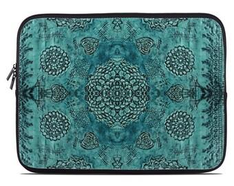 Boho laptop case, boho laptop sleeve, teal bohemian laptop cover, to fit 10, 13, 15, 17 inch