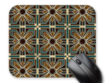Mouse pad, brown and teal mousepad, circle mouse pad, round mouse pad, rectangle mouse mat, gift for coworker, gift for her
