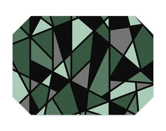 Green placemat, geometric placemat, printed cloth placemat, black, gray, fabric placemat, table linens, table setting, modern decor