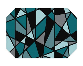 Teal placemat, geometric placemat, printed cloth placemat, black, gray, fabric placemat, table linens, table setting, modern decor
