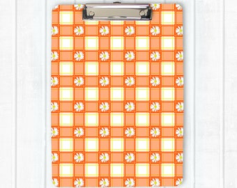Plaid clipboard, floral clipboard, daisies clipboard, orange, flat clip, clip board, office accessory, teacher gift, office gift, grad gift